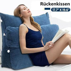Rückenkissen Keilkissen Rückenlehne mit Nackenrolle Blau Für Sofa Bett Büro 45cm