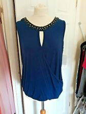 Teal Blue Embellished Wrap over Top Size L (14/16) Nwt
