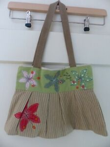 Poppy Treffry Cotton Handbag. Hand Embroidered Flowers. Made in Cornwall RRP£65