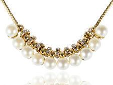 Antique Golden Tone White Rhinestone Pearl Adjustable Necklace Clr