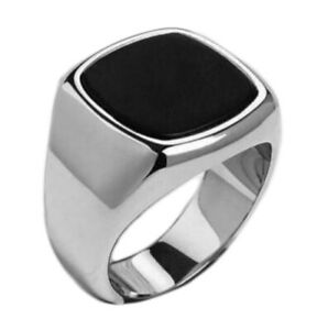 Handmade Pure 925 SILVER man Ring Onyx stone wedding jewelry gift Box RRP £40