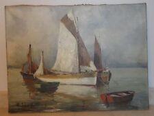 ancien tableau bâteau huile sur toile HENRI ALEXIS SCHAEFFER french painting