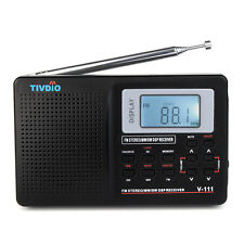 Portable DSP FM Stereo/MW/SW/TV Radio World Band Receiver Digital Alarm Clock BC