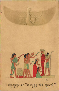 """PC EGYPT, CEREMONY OF """"OPENING THE MOUTH"""", Vintage EMBOSSED Postcard (b30663)"""