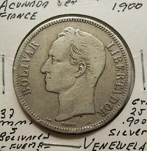 1900 Venezuela 5 Bolivares Gram 25 Silver Coins