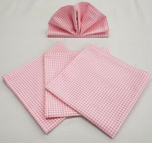 Pink & White Checked Gingham Cloth Napkins
