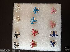 The Butterfly Swarovski Crystal Handmade Stud Earrings Mix Colors 6 Pairs A10