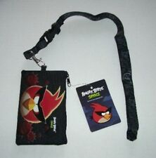 Black Angry Birds Lanyard rovio Licensed Zipper Wallet Pouch ID Badge Holder New