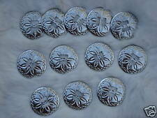 "1 Dz SILVER Round Conchos 1 1/2"" Across Shiny Daisy Design NEW in Bag"