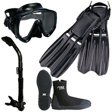 Scuba Dive Mask Dry Snorkel Boots Fins Gear Package Set