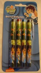 Go Diego Go Party Supplies Giftware Barrel Ballpoint Pens Pack of 4 (3 Colours)