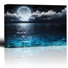 Big Moon Illuminating the Clear Ocean Blue - Canvas Art Home Decor- 24x36 inches