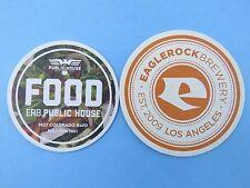 2 Beer Coasters ~*~ EAGLE ROCK Brewery & Public House ~ Los Angeles, CALIFORNIA