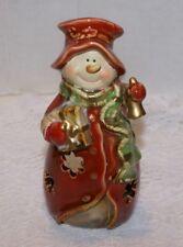 "Snowman Christmas Holiday Ceramic Candle Holder Tea Light 6""H X 3""D"