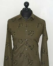 Men's DIESEL Premium Olive Floral Patterned Shirt Size SLIM FIT L *VGC*