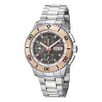 Stuhrling Men's Valjoux 7750 Gray Dial Silver Flange Rose Bezel Prestige Watch