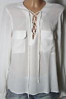 MANGO Bluse Gr. M/38 creme-weiß Langarm Bluse/Tunika in Leinen Optik