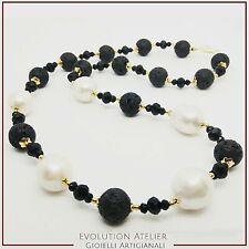 Collar Mujer de Plata 925 Perlas Naturales Barroco y Piedra Lava Dell' Etna