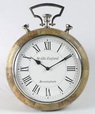 Wall Clock Stop Watch Mango Wood Nickel Roman Numeral Middle-England Birmingham