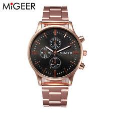 Men Women Luxury Gold Watch Crystal Stainless Steel Analog Quartz Wrist Watches Black