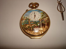 VTG HUGE HUNTING ARNEX MOTION REUGE MUSIC ALARM 17 JEWELS SWISS POCKET WATCH KEY