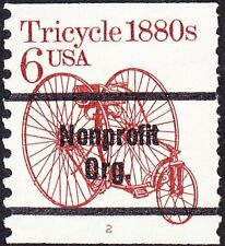 US - 1985 - 6 Cents Red Brown Precanceled Tricycle Coil #2126a Plate #2 Single