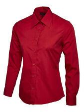 Uneek Ladies Poplin Full Sleeve Formal Shirt Work Office Long School Lot Red Large