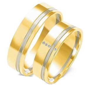 Eheringe Trauringe 585 er Gold Bicolor Massiv Gelb/Weissgold 7mm breit