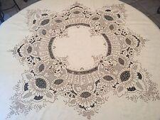 "LAVISH Madeira Hand Embroidered 86"" Round Ecru Linen Tablecloth Floral  E131"