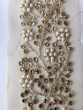 ATTRACTIVE WIDE INDIAN PEARL & CRYSTAL FLOWERS ON GOLD NET TRIM/LACE-Sold by MTR