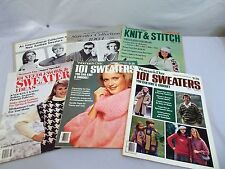 "LOT OF 6 VINTAGE ""WOMAN'S DAY"" KNITTING MAGAZINES & COLLECTIONS-60's,70'S & 80'S"