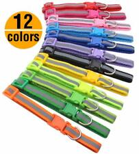 12PCS Lot Reflective Dog Collar Buckle Collar W/ Bell Small Puppy Cat Necklace
