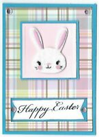 HAPPY BUNNY HEAD Easter Holiday Greeting Card - Handmade A2 Size