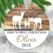 Baby First Christmas Ornament 2018 Deer Family Wood Like Rustic Personalized