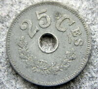 LUXEMBOURG 1916 25 CENTIMES, WWI COINAGE ZINC