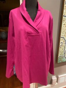 L.L. bean purple shawl collar soft cotton shirt sweater 3X nwt new