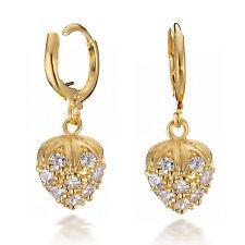 Jewelry Yellow Gold Filled Swarovski Crystals Huggie Hoop Dangle Earrings 187-64