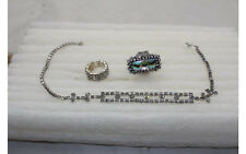 "Vintage Antique Jewelry Lot 16"" Necklace 2 stretchy Rings (size 8) Rhinestone"