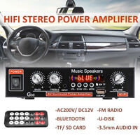 Bluetooth Car Audio Power Amplifier/Amp 220V Stereo FM AUX Radio MP3 Player