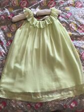 EUC Designers Bonpoint Girl Neon Lime Chiffon Silk Occasion Dress SZ 6 $470