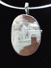 Master hand carved landscape cameo set in Italian silver