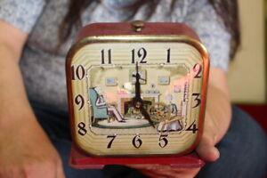 Vintage 1930's Lux Motion Spinning Wheel Metal Alarm Clock Sign WORKS