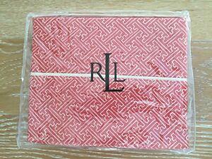 RALPH LAUREN Villa Camelia TWIN FLAT Sheet Red Orange Fretwork Cotton Sateen NEW