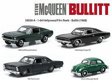 HOLLYWOOD FILM REELS SERIES 3, 4PC SET 1968 BULLITT 1/64 BY GREENLIGHT 59030 A