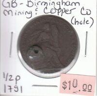 Great Britain Half Penny Token - 1791 Birmingham Mining & Copper Company