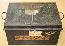Antique 19thC Metal Deeds Box 'STRICKLAND' Old Labels & Hand Printed Name