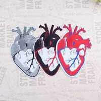 Anatomical Red Heart Extra Iron on Patches Embroidered Badge Applique