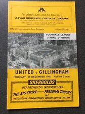 Oxford United v Gillingham programme 1966/67
