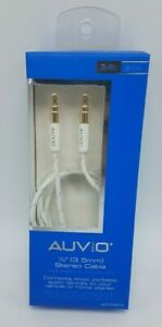 """AUVIO 1/8"""" 3.5 Aux Auxiliary Cord Stereo cable Smart Phone Braided line White"""