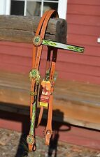 Unique Light Oil Headstall Lime Green Diamond Overlay Gold Tone Crystal Buckles